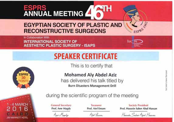 Egyptian society of plastic and reconstructive surgeons - Speaker certificate