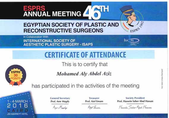Egyptian society of plastic and reconstructive surgeons - Attendance certificate